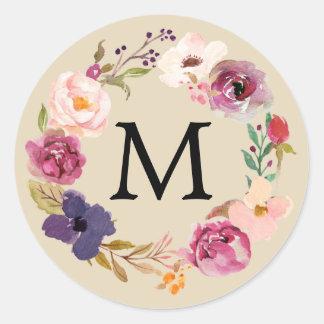 Adesivo Redondo Monograma floral da grinalda da aguarela rústica
