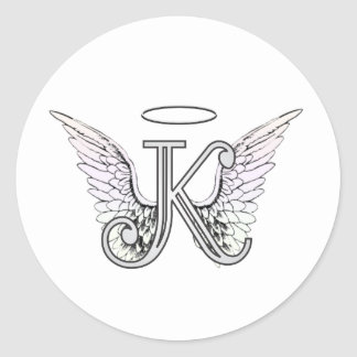 Adesivo Redondo Monograma inicial da letra K com asas & halo do