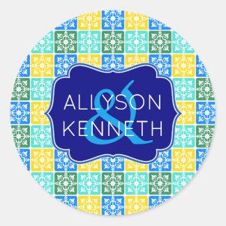 Adesivo Redondo Monograma mediterrâneo dos azulejos da forma na