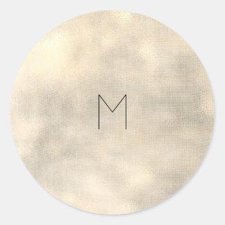 Adesivo Redondo Monograma metálico de linho do Sepia do ouro de