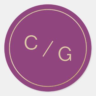 Adesivo Redondo Monograma moderno minimalista roxo do casal da