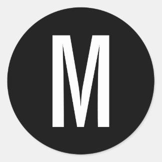Adesivo Redondo Monograma preto e branco moderno simples