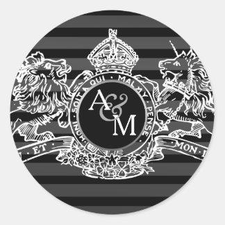 Adesivo Redondo Monograma régio do emblema do unicórnio branco