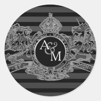 Adesivo Redondo Monograma régio do emblema do unicórnio de prata