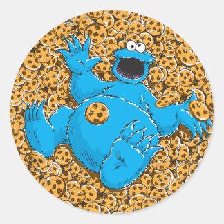 Adesivo Redondo Monstro e biscoitos do biscoito do vintage