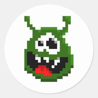 Adesivo Redondo Monstro verde - arte do pixel