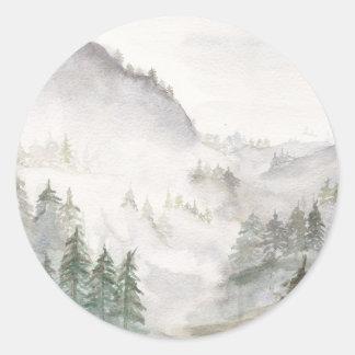 Adesivo Redondo Montanhas enevoadas