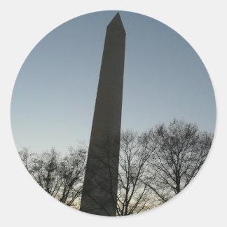 Adesivo Redondo Monumento de Washington na foto do viagem da C.C.