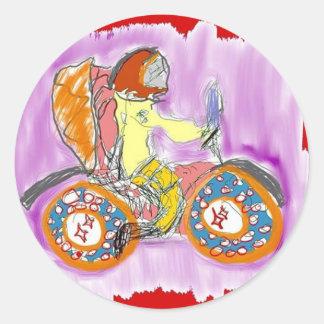 Adesivo Redondo motocicleta do astronauta