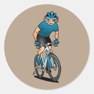Adesivo Redondo MTB - Motociclista da montanha em seu moutainbike