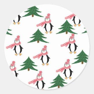Adesivo Redondo Muffin do pinguim do Natal