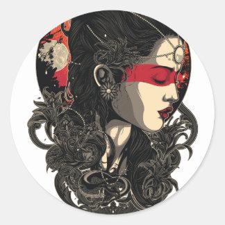 Adesivo Redondo Mulher da ascensão Sun