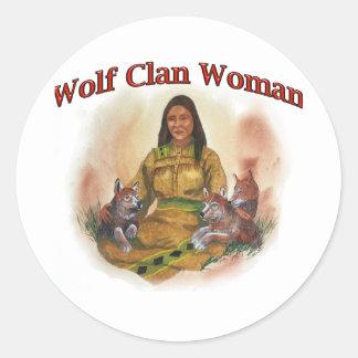 Adesivo Redondo Mulher do clã do lobo