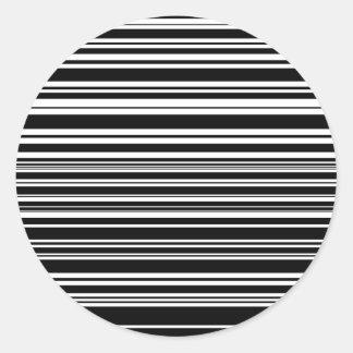 Adesivo Redondo Multidões de listras preto e branco desiguais