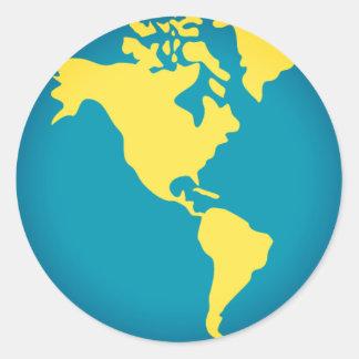 Adesivo Redondo Mundo Emoji de Americas