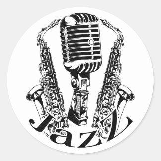 Adesivo Redondo Música do microfone do saxofone do saxofone do ~