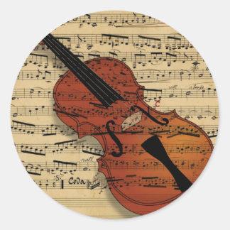 Adesivo Redondo Música do vintage do violino