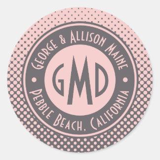 Adesivo Redondo Na moda cinzento cor-de-rosa milenar do monograma