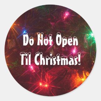 Adesivo Redondo Não abra até luzes de Natal