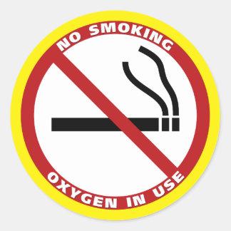Adesivo Redondo Não fumadores - oxigênio no uso - nenhum Fumar