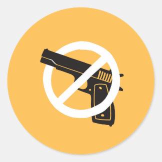 Adesivo Redondo Não mais armas (etiquetas - amarelo)