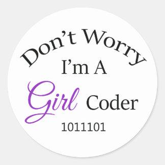 """Adesivo Redondo """"Não se preocupe, mim são um codificador da menina"""
