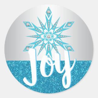 Adesivo Redondo Natal azul de prata do feriado da ALEGRIA do floco
