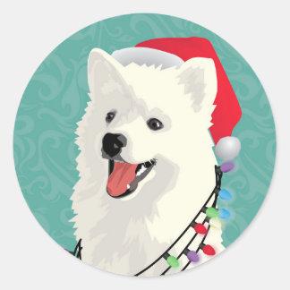 Adesivo Redondo Natal bonito do cão de filhote de cachorro do