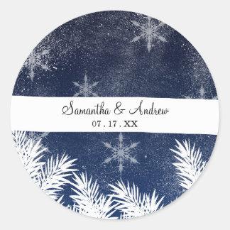 Adesivo Redondo Natal branco dos azuis marinhos dos pinheiros da
