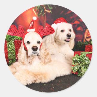 Adesivo Redondo Natal - Cocker - Toby, Havanese - pouco T
