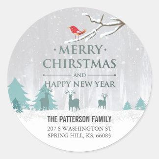 Adesivo Redondo Natal da cena da neve e endereço do cumprimento do