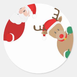 Adesivo Redondo Natal da rena