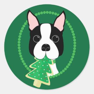 Adesivo Redondo Natal de Boston Terrier