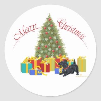Adesivo Redondo Natal de Terrier do Scottish