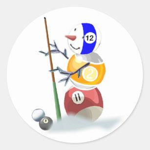 Adesivo Redondo Natal do boneco de neve da bola de bilhar 4f4e2173771db