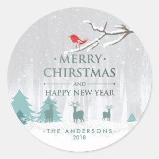 Adesivo Redondo Natal do país das maravilhas do inverno e