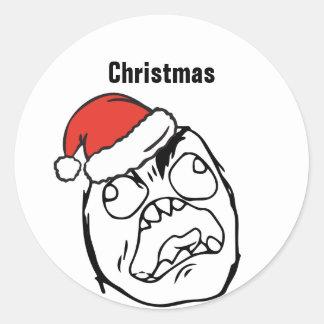 Adesivo Redondo Natal EDITÁVEL louco de Le Me Memes do troll