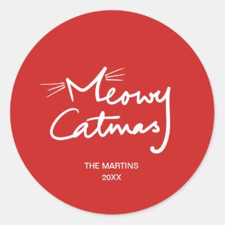 Adesivo Redondo Natal indicado por letras do gato da mão engraçada