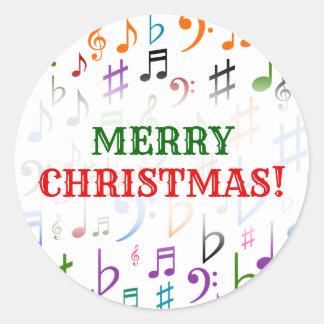 Adesivo Redondo Natal; Muitos notas e símbolos coloridos da música