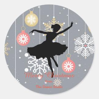 Adesivo Redondo Natal personalizado da silhueta da bailarina