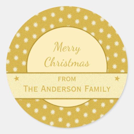 Adesivo Redondo Natal personalizado do feriado do ouro