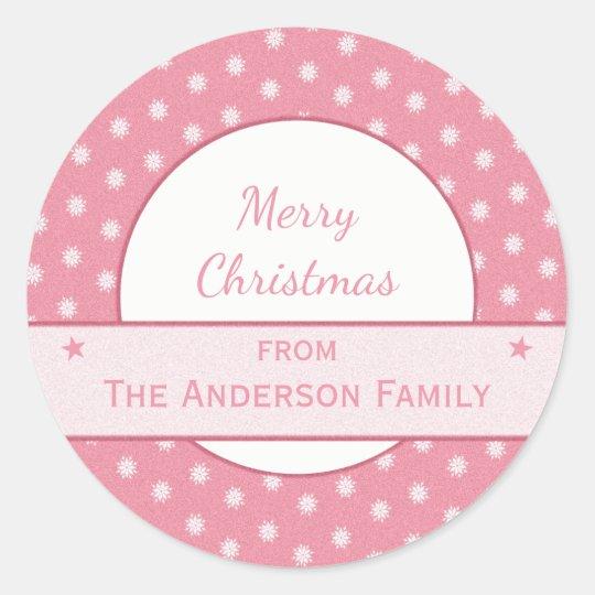 Adesivo Redondo Natal personalizado do rosa do feriado