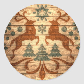 Adesivo Redondo Natal primitivo do Nordic dos flocos de neve da