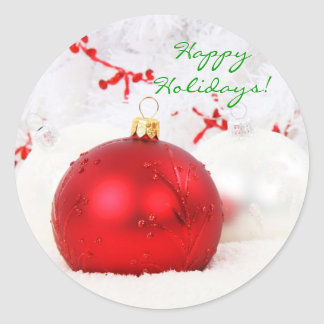 Adesivo Redondo Natal vermelho e branco boas festas mim