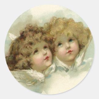 Adesivo Redondo Natal vintage, anjos do Victorian nas nuvens