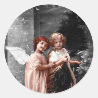 Adesivo Redondo Natal vintage etiqueta, crianças do anjo dos 1900s