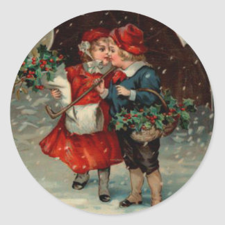 Adesivo Redondo Natal vintage etiqueta, miúdos de Ellen Clapsaddle