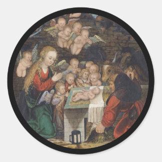 Adesivo Redondo Natividade que caracteriza querubins