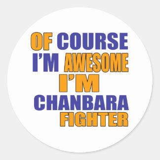 Adesivo Redondo Naturalmente eu sou lutador de Chanbara