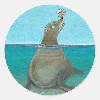 """Adesivo Redondo """"Nautilus"""" o leão de mar"""